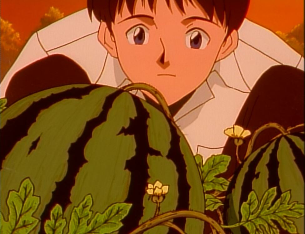 shinji looking at Kaji's melons
